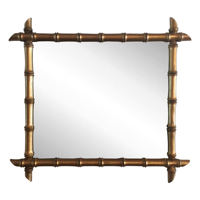 Hollywood Regency Gilded Bamboo Mirror - Image 1 of 7