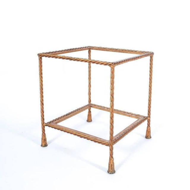Gold Leaf Pair of Golden Iron Rope Side Tables, Attributed Maison Jansen, France, 1950 For Sale - Image 7 of 7