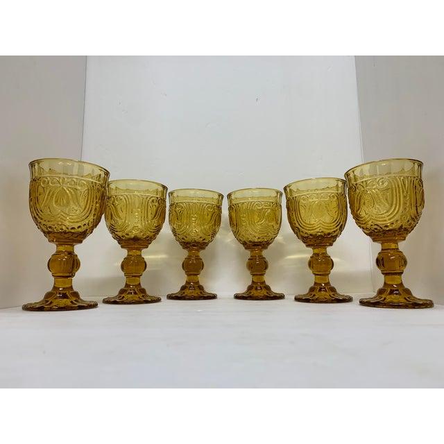 Vintage 1940's Amber Glass Goblets - Set of 6 For Sale - Image 13 of 13