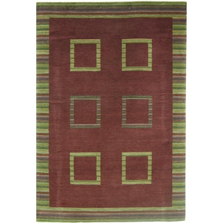 Modern Decorative Woolen Tibetan Handmade Rug- 4′ × 6′ For Sale