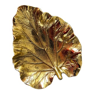 Mid-Century Brass Rhubarb Leaf For Sale