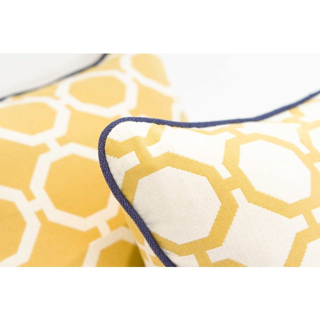 Yellow Geometric Pillows - A Pair - Image 6 of 6