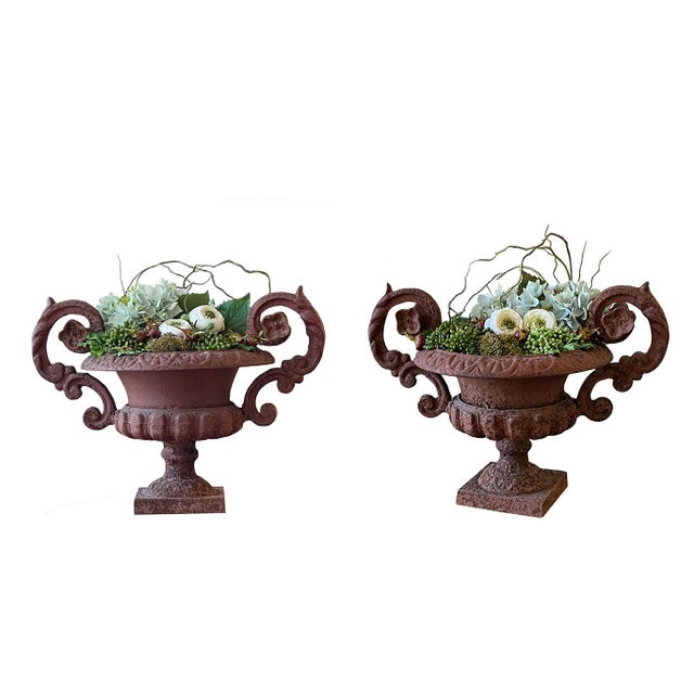 Potted French Iron Urns - a Pair For Sale In Dallas - Image 6 of 6