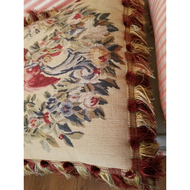French Provincial Large Aubusson Style Parrot Pillow For Sale - Image 3 of 10