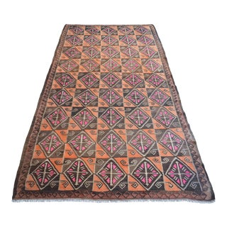 Flat Weave Turkish Rug Tribal Kilim Vintage Area Rug- 5′1″ × 10′ For Sale