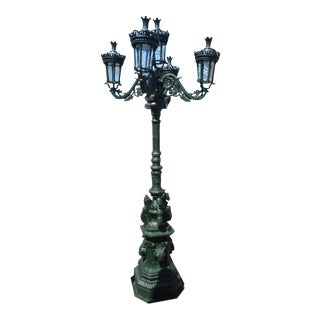 Massive Cast Iron Street Lamp With Five Lanterns For Sale