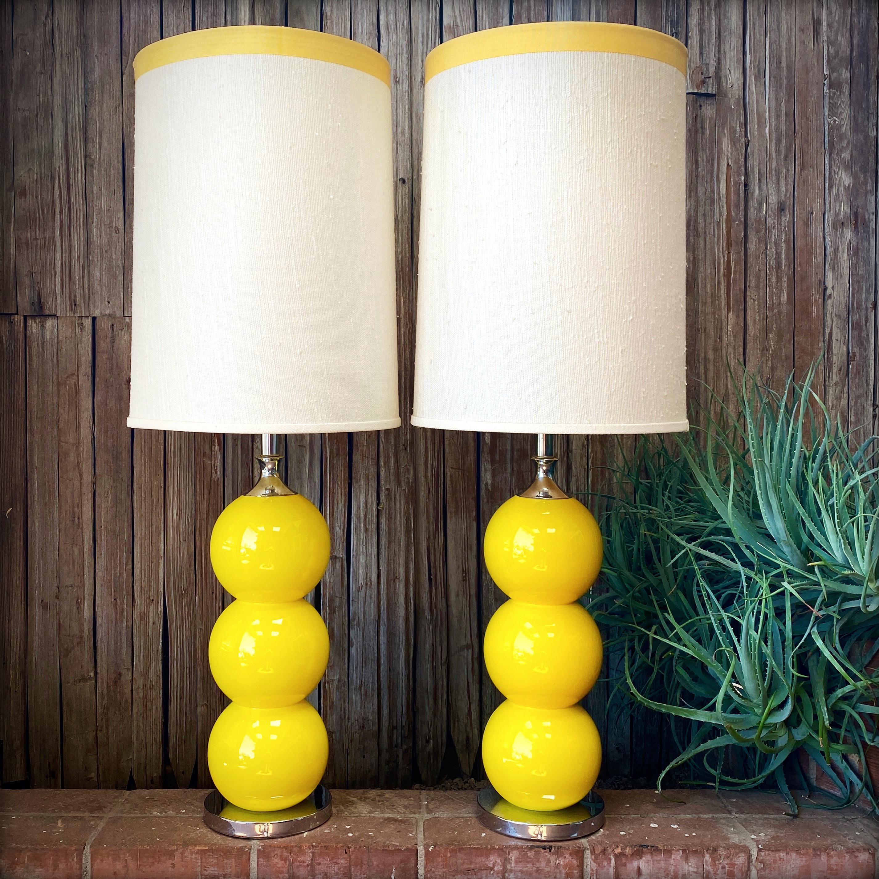 Pair of Mid-Century Ceramic Yellow Lamps with Original Shades