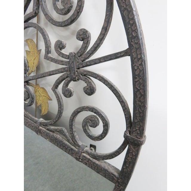 Art Nouveau Casa Bique Hand Hammered Iron & Brass Mirror For Sale - Image 3 of 6