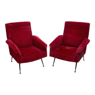 Italian Mid-Century Modern Red Chairs - A Pair