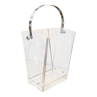 Oversized Lucite Magazine Holder / Waste Basket For Sale