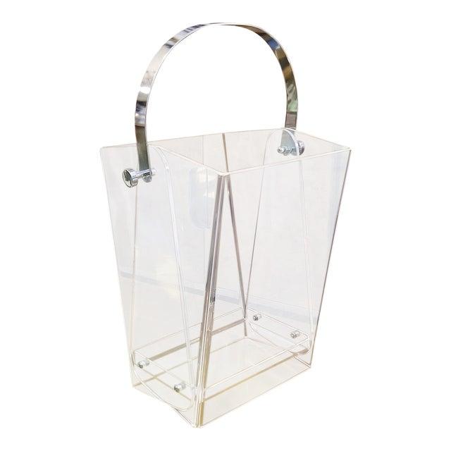 Oversized Lucite Magazine Holder / Waste Basket For Sale