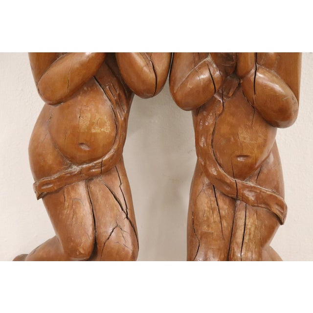 17th Century Italian Sculpture Pair of Carved Wooden Cherubs For Sale - Image 4 of 12
