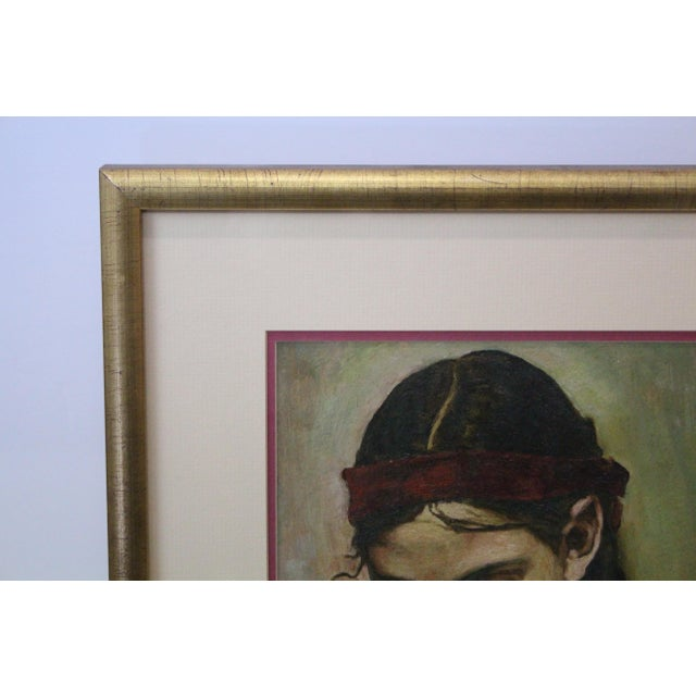 1970s Vintage Christopher Zhang Mimi With Red Ribbon Painting For Sale - Image 4 of 8