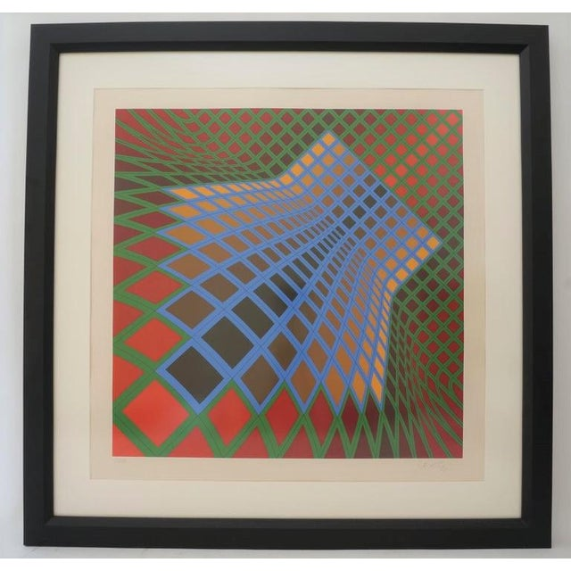 Vintage Vasarely Pencil Signed and Numbered Limited Edition 67/250 Op Art Original Print Custom Framed For Sale - Image 11 of 11