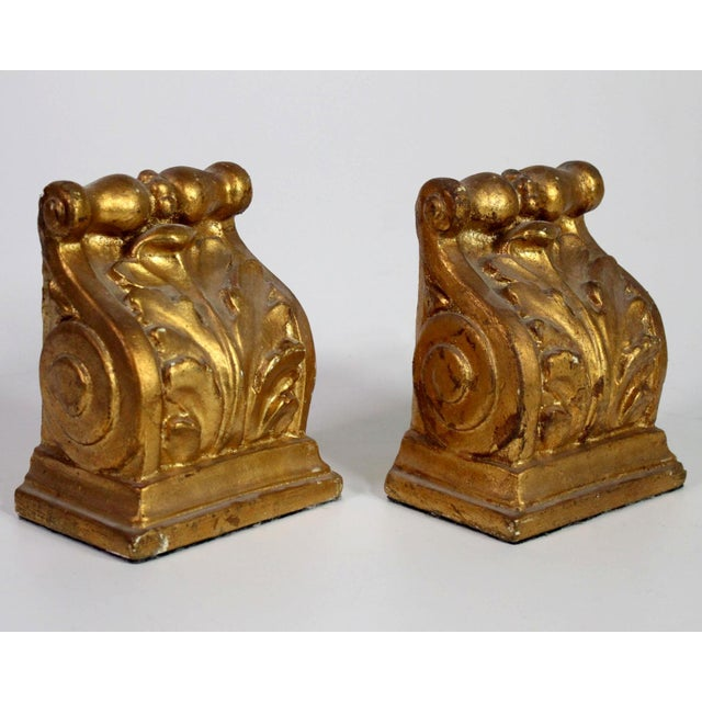 1940's Hollywood Regency Neoclassical Romanesque Scroll Gilt Bookends - a Pair For Sale In Los Angeles - Image 6 of 8