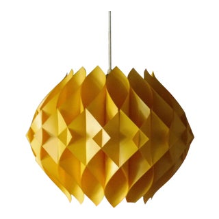 1970's Danish Modern Plastic Geometric Hanging Pendant Lamp For Sale