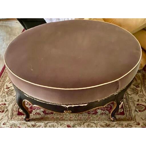 Redesigned French style Ottoman, with distressed wood look, and peachy brown velvet, accented with French medieval brass...