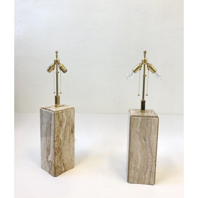 Gold Italian Travertine and Brass Table Lamps - a Pair For Sale - Image 8 of 10