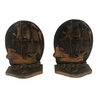 1920s Vintage Snead Style Sailing Ship Bronze Bookends - 2 Pieces For Sale