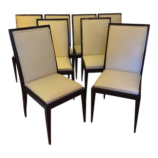 Set 8 Swaim Excellent Condition Current Model Dining Chairs in Ivory Leather
