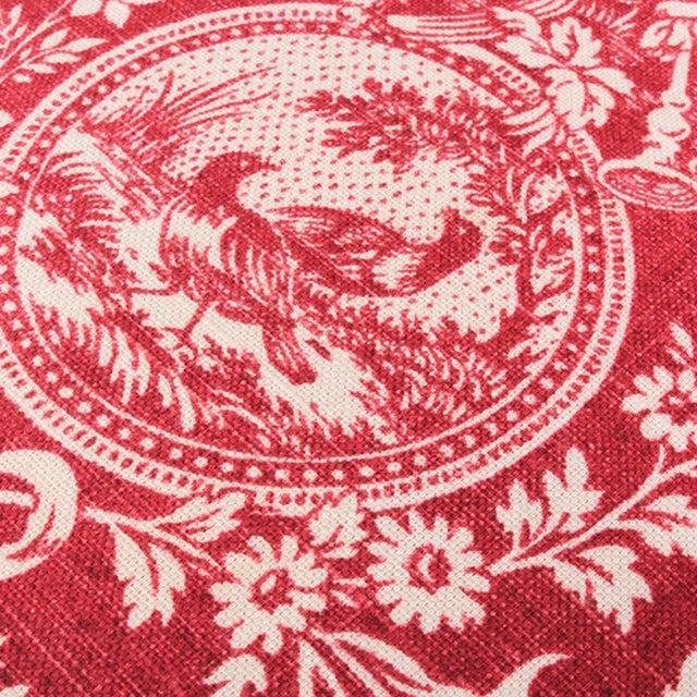 Red & White Toile Mahogany Corner Chair - Image 3 of 5