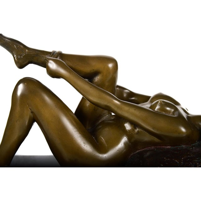 Vintage Bronze Sculpture Reclining Pin Up Girl - Image 4 of 10
