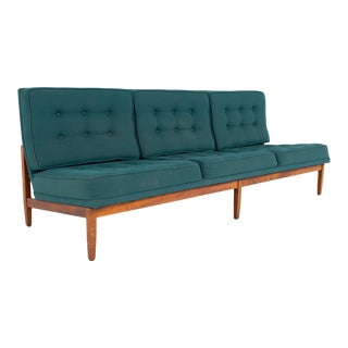 Early Florence Knoll Mid Century Parallel Bar Walnut and Teal Green Daybed Slipper Sofa For Sale
