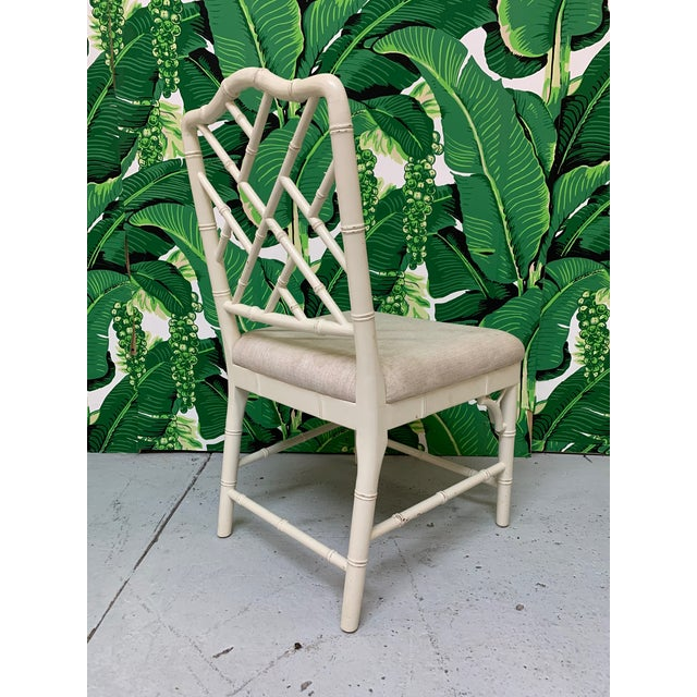 Asian Faux Bamboo Chinese Chippendale Dining Chairs Set of 6 For Sale - Image 3 of 9