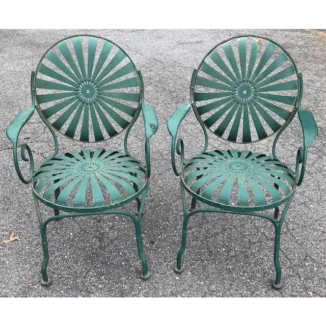 Francois Carre Style French Sunburst Spring Steel Deauville Garden Chairs - A Pair For Sale - Image 12 of 12