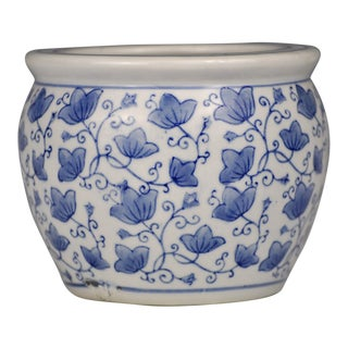 Vintage Blue & White Porcelain Flower/Orchid Pot For Sale