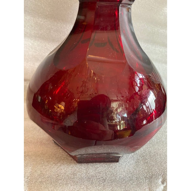 Ruby Red Glass Decanter Bottle / Clear Stopper For Sale In Los Angeles - Image 6 of 10