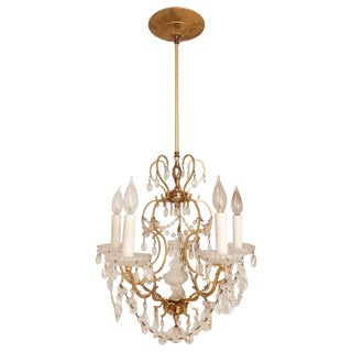 Vintage Baroque Style Crustal and Gold Plated Five Light Chandelier For Sale
