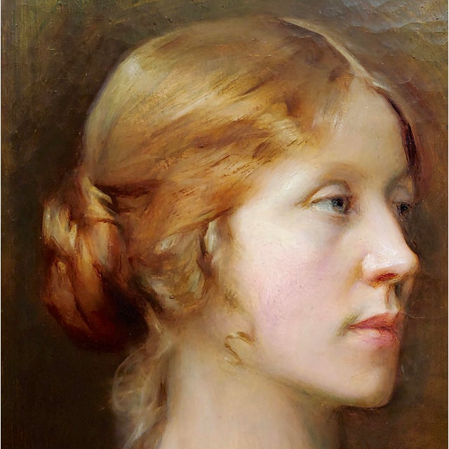 1910s Arthur Hacker 1918 Portrait of a Sophisticated Red Haired Lady - Oil Painting For Sale - Image 5 of 11