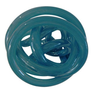Organic Modern Stormy Teal Blue Art Glass Knot For Sale