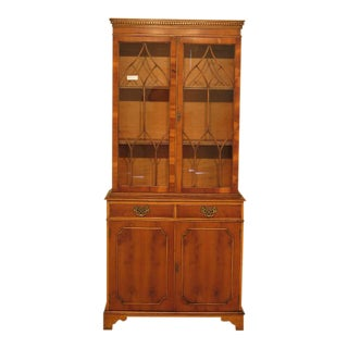 Southampton Yew Wood English Style 2 Door Mahogany China Bookcase For Sale