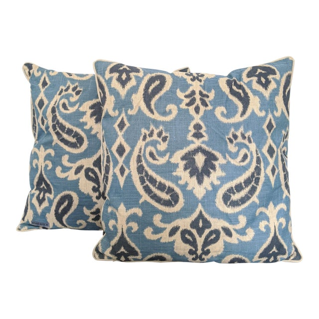 Muted Blues Ikat Pillows - A Pair For Sale