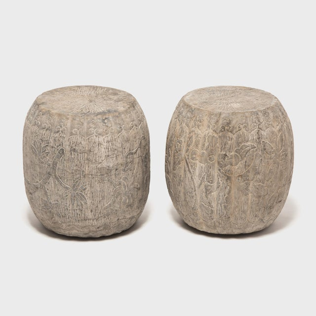 Chinese Floral Melon Drum Stool For Sale In Chicago - Image 6 of 8