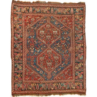 """Authentic Red and Blue Antique Persian Qashqai Tribal Rug. 5'2""""x 6'3"""" For Sale"""