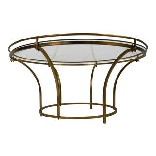 Vintage Modern Brass Frame Coffee Table For Sale
