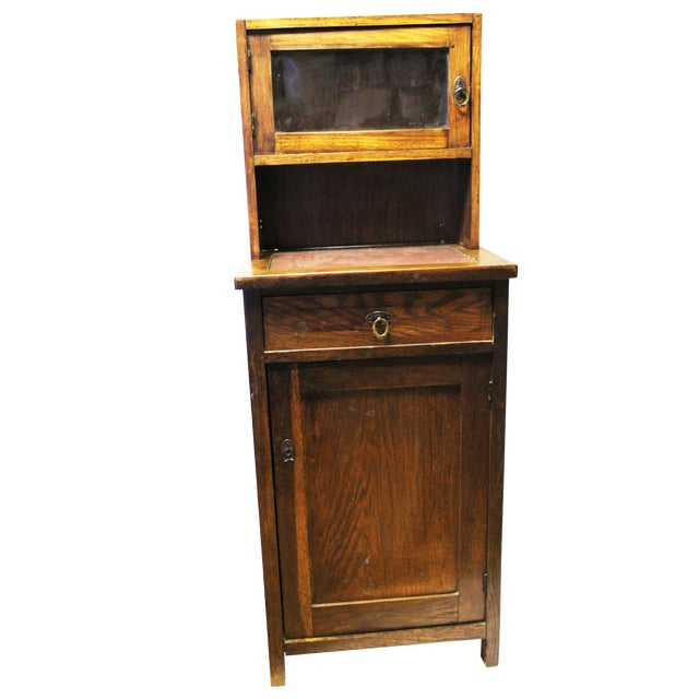 Antique American Two-Part Step Back Cupboard With Hutch For Sale