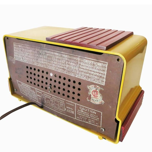 "Red Addison Model Two ""Waterfall"" Red and Mustard Catalin Tube Radio For Sale - Image 8 of 9"