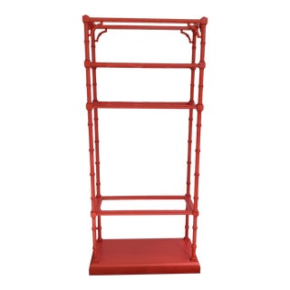 Poppy Red Painted Faux Bamboo Lane Furniture Etagere For Sale