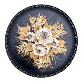 Image of Vintage Hand-Painted Greek Key Pierced Gold Roses Tole Tray For Sale