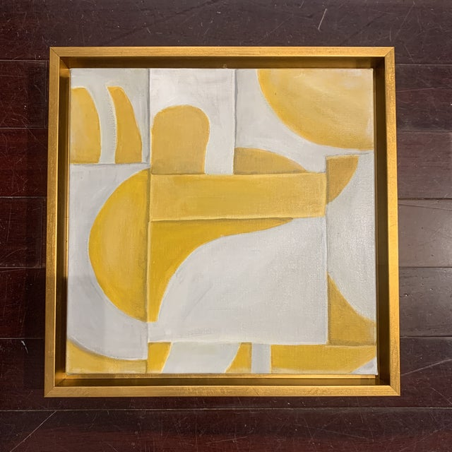 Abstract Custom Modern Abstract Yellow and White Painting from Houston Artist For Sale - Image 3 of 9