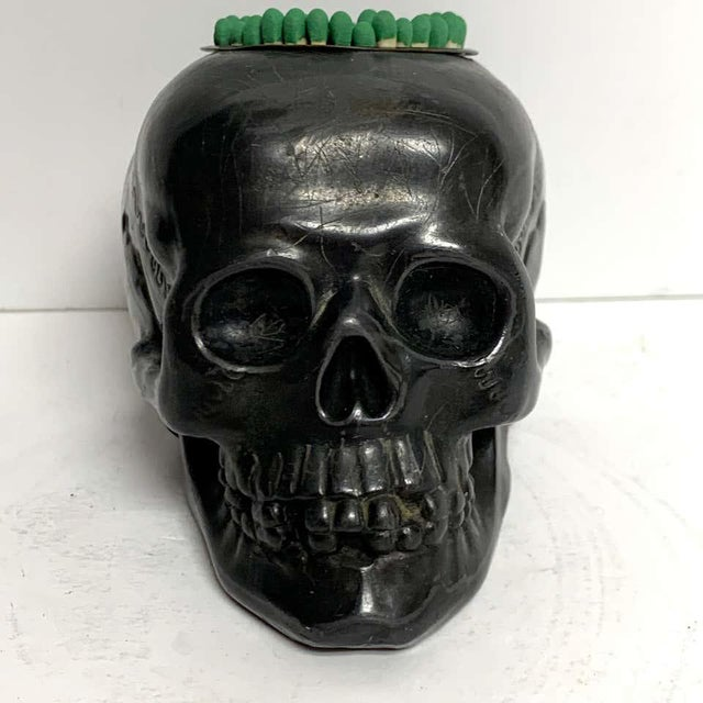Antique German Gunmetal Skull Match Holder/Strike For Sale In West Palm - Image 6 of 11