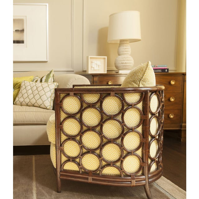 Designer Rattan Circle Motif Club Chair - Image 2 of 3