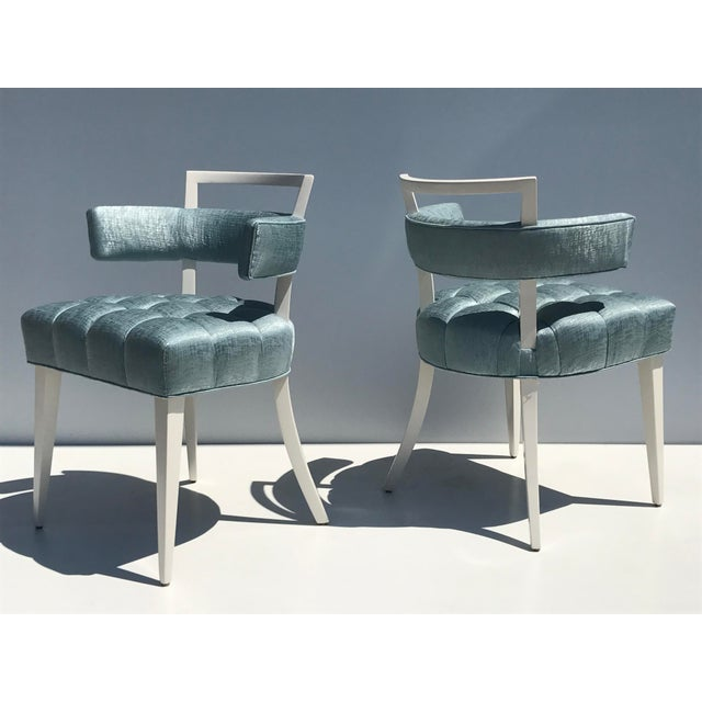 Set of Four Billy Haines Biscuit Tufted Side / Dining Chairs - Image 2 of 11