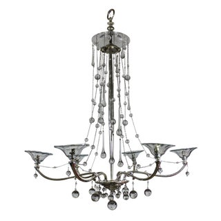 An Unusual French Silver Chandelier Hung With Glass Baubles