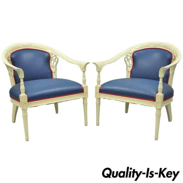 Cream Lacquered Chinoiserie Blue Barrel Back Lounge Club Arm Chairs - A Pair For Sale - Image 10 of 10