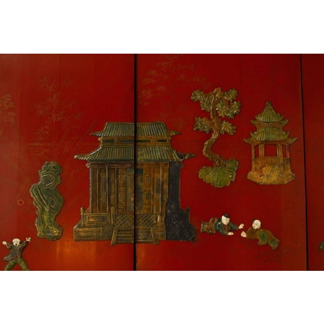 Chinese Hard-Stone & Red Lacquer Screen - Image 8 of 10